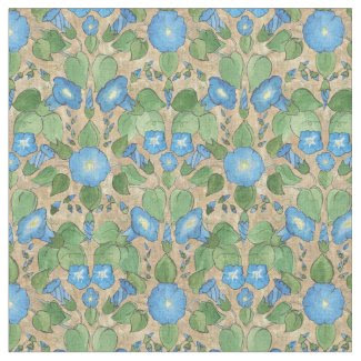 Pretty Blue Morning Glory on Taupe Floral Fabric