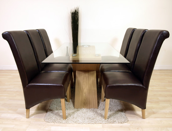 VALENCIA OAK GLASS DINING TABLE 6 BROWN LEATHER CHAIRS  eBay