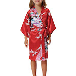 Girls Robes, Floral, Sizes 2T-14, Flower Girl Robes, Spa Party, Fiery Red / 4T (Ages 2T-3T) from Gifts Are Blue