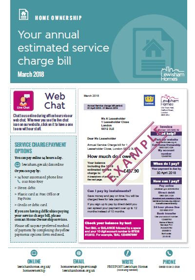 Service charge bill for Leaseholders - Lewisham Homes