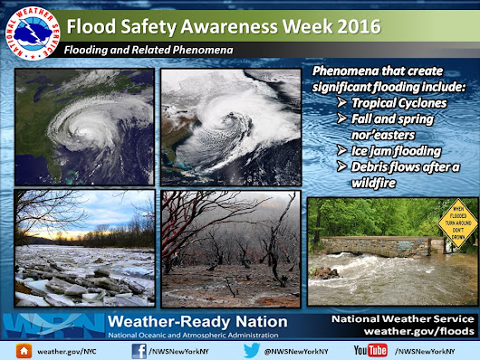 "NWS New York NY on Twitter: ""Flood Safety Awareness Week: Today's topic is flooding and related phenomena. Never underestimate the force of water """