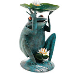 Handcrafted Reclaimed Metal Giant Blue Frog Birdbath