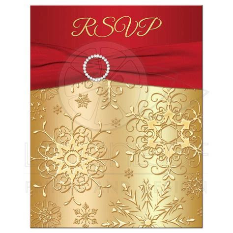 Winter Wedding RSVP Card   Red, Gold Snowflakes   Printed