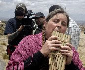 """On location in Bolivia filming """"Panpipes for Peace"""""""