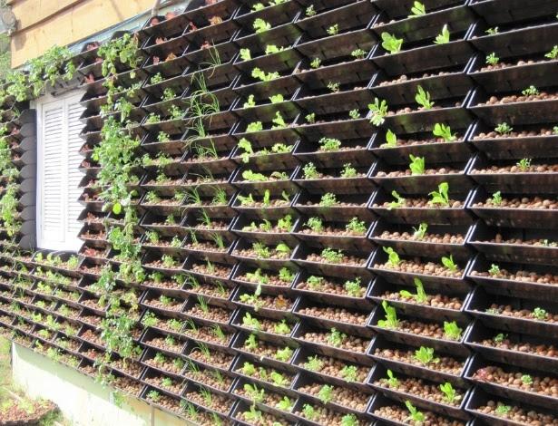 Fachada de residência com horta vertical implantada: cultivo de hortaliças é feito por hidroponia