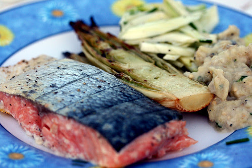 Planked salmon with fennel