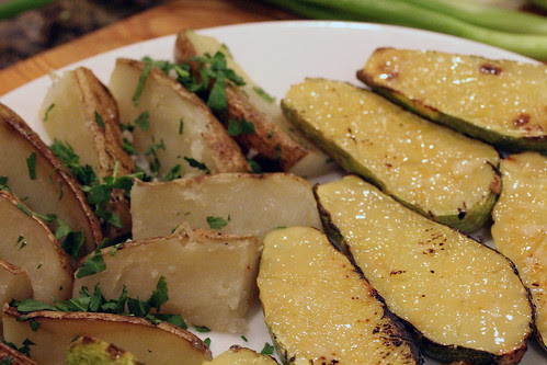 Confit potatoes and miso-glazed calabasitas