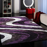 Luxurious Hand Carved Hand Crafted Vibrant Wavy Shaggy Area Rug/Carpet 5' x 7' / Gray Purple