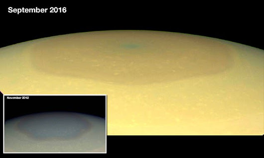 Mystery as giant 'hexagon' at Saturn's north pole changes colour