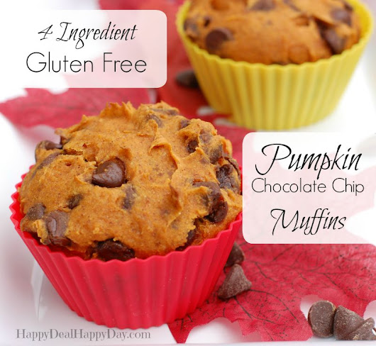4 Ingredient, Gluten Free, Pumpkin Chocolate Chip Muffins | Happy Deal - Happy Day!