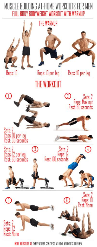 home workouts  men  muscle building workouts