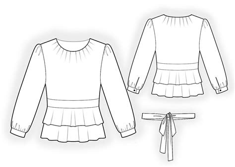 blouse  double peplum sewing pattern