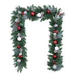 9' Pre-Lit LED Decorated Red and Silver Garland