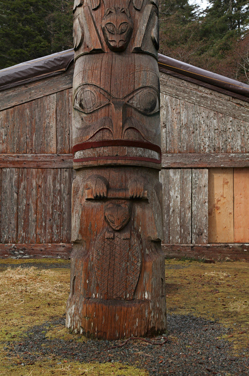between storms, beaver on totem at Chief Son-i-Hat Whale House, Kasaan, Alaska