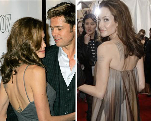 All but the central tattoo appear to be Jolie's ink.