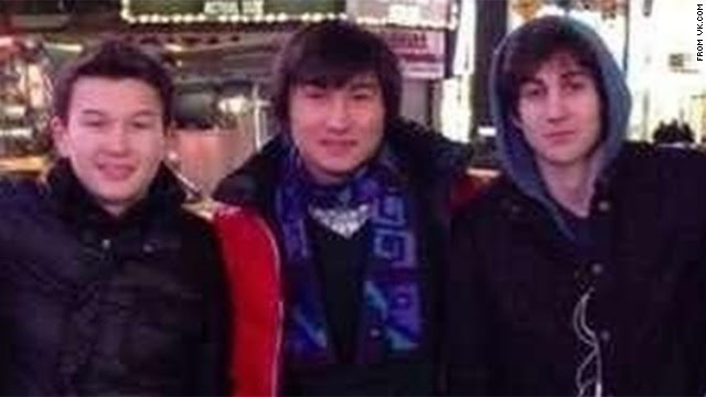 From left, Azamat Tazhayakov and Dias Kadyrbayev went with Boston bombing suspect Dzhokhar Tsarnaev to Times Square in this photo taken from the social media site VK.com. Tazhayakov and Kadyrbayev were <a href='http://www.cnn.com/2013/05/01/us/boston-attack/index.html'>arrested on Wednesday, May 1,</a> on charges they tried to throw investigators off Tsarnaev's trail. <a href='http://www.cnn.com/SPECIALS/us/boston-bombings-galleries/index.html'>See all photography related to the Boston bombings.</a>