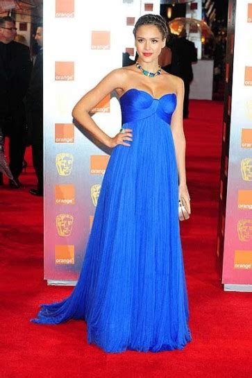 Jessica Alba Blue Formal Gown Prom Evening Dress 2011
