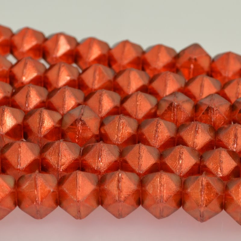 s42246 Glass Beads - 13.5 mm Antique English Cut - Flame Gold Lustre (15)