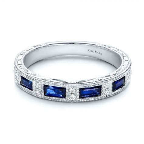 Blue Sapphire Wedding Band with Matching Engagement Ring