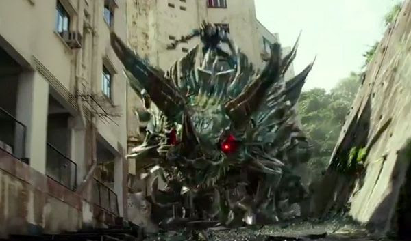 The Dinobot named Slug charges into battle in TRANSFORMERS: AGE OF EXTINCTION.