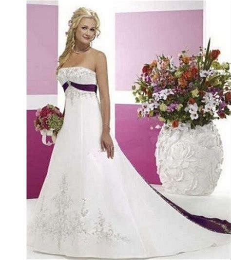 hochzeitskleid White and Purple Appliques Wedding Dresses