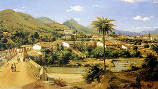 Paisagen de Sabará, MG de 1886 em pintura óleo de Grimm