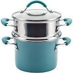 Rachael Ray 3 Quart Covered Multi-Pot Set with Steamer - Agave Blue