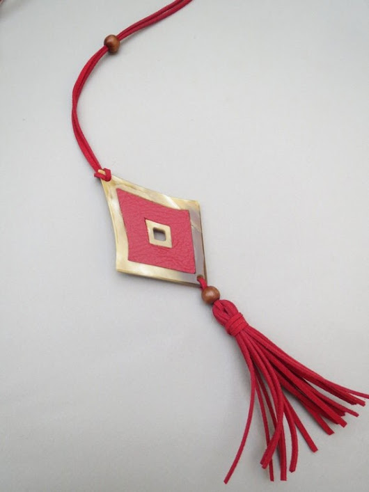 Red Necklace Leather Necklace Red Tassel Necklace by Saigonspring