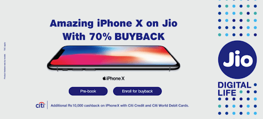 Reliance Jio Offering Apple iPhone X With 70% Buyback