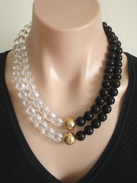 www.etsy.com/...    Ashira Statement Necklace Black Onyx, Rock Crystal and 24k Gold Vermeil Focal Beads