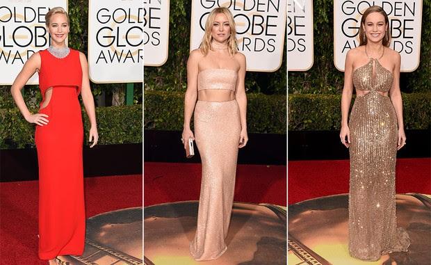 Top 10 Globo de Ouro 2016 - Barriga de fora -  Jennifer Lawrence, Kate Hudson e Brie Larson (Foto: AFP)