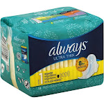 Always Ult Thn Reg W/Wngs Size 18 Ct Always Ultra Thin Regular Pads W/Wings 18ct -PACK 6