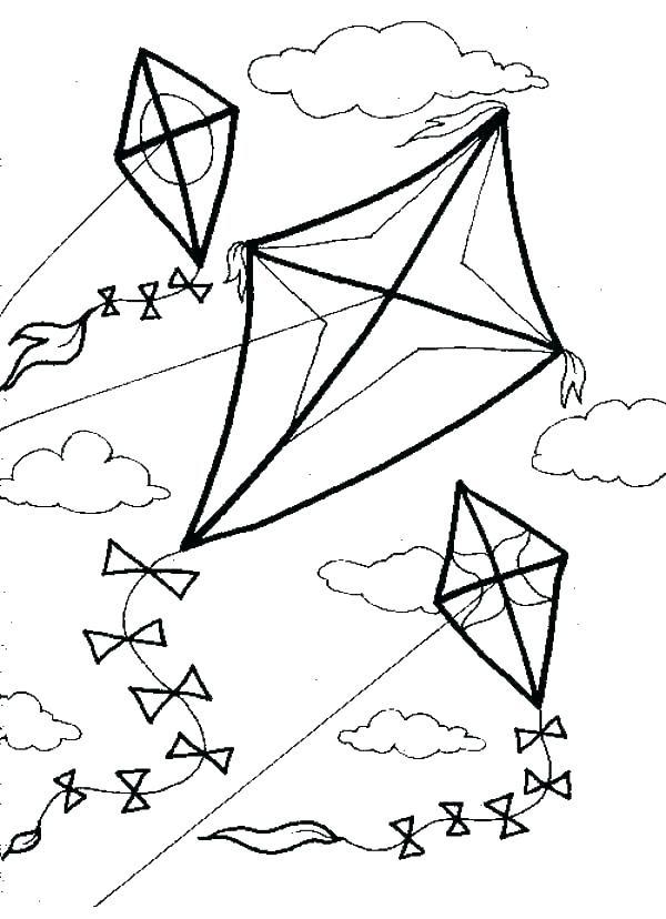 Kite Coloring Page at GetColorings.com   Free printable ...