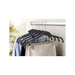 Simplify Velvet Suit Hanger with Clips, 6 Pack, Black