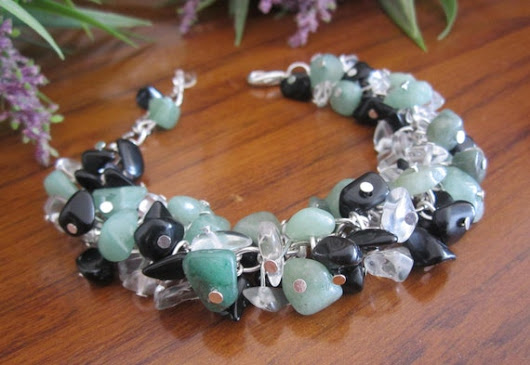 Multi Gemstone Bracelet Green Aventurine Black Onyx Clear