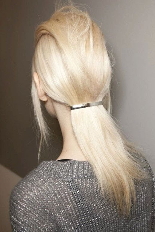 LE FASHION BLOG HAIR INSPIRATION LOW FLAT PONYTAIL PRADA FW 2011 SILVER METAL BARETTE GOODY BLEACH BLONDE HAIR METALLIC KNIT SWEATER BACKSTAGE EASY HAIR STYLE LITTLE TIME MINIMAL CHIC VIA VOGUE UK photo LEFASHIONBLOGHAIRINSPIRATIONLOWFLATPONYTAILPRADAFW2011VIAVOGUEUK.jpg