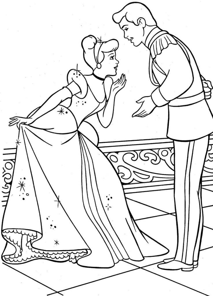 Coloriage Cendrillon Et Son Prince à Imprimer