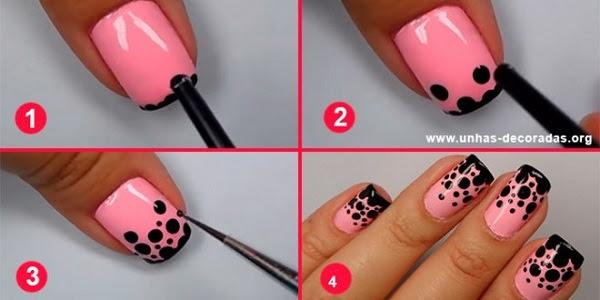 Tutorial-passo-a-passo-Unhas-decoradas-rosa-com-bolinhas-pretas-660x330