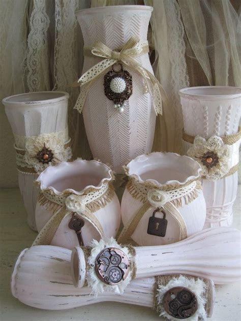 Painted Vases, Glass Vases, Shabby Chic Vases, Wedding