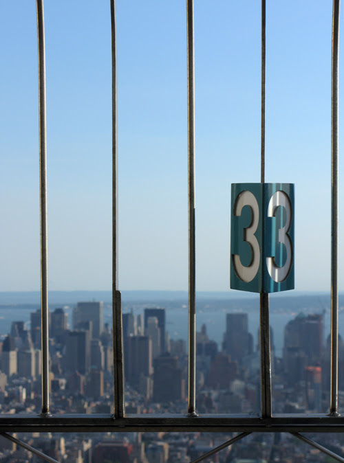 the number 33 on top of the Empire State Building, Manhattan, NYC