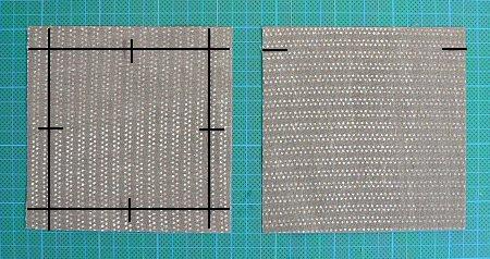 mark fabric squares