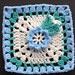 "6"" Blue Flower Treble Square"
