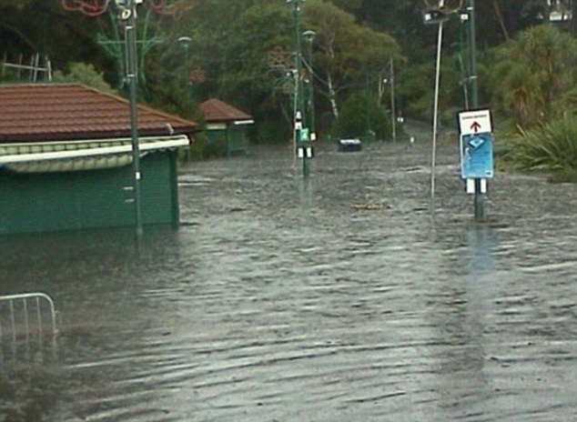 Flash flooding in Bournemouth Gardens today. This picture was provided by a MailOnline reader