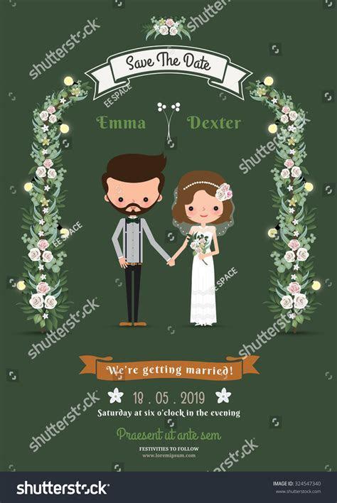 Rustic Hipster Cartoon Couple Wedding Card Stock Vector