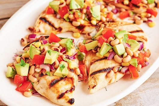 Grilled Honey Lime Chicken with Cowboy Caviar - Hello Healthy