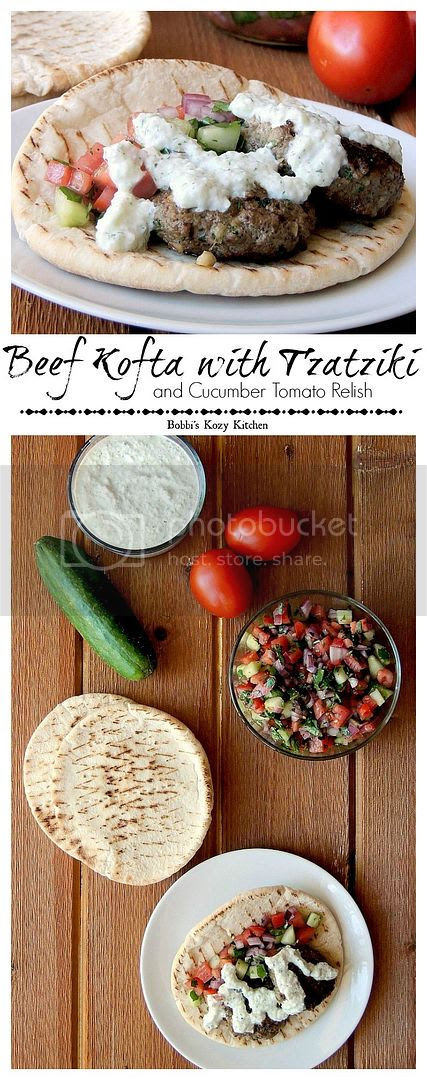 Beef Kofta with Tzatziki and Cucumber Tomato Relish is a delicious, and healthy, Turkish inspired meal from www.bobbiskozykitchen.com