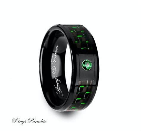 ceramic ring emerald stone mens black ceramic ring green
