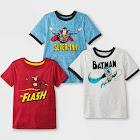 petiteToddler Boys' DC Comics DC Super Heroes 3pk Short Sleeve T-Shirts - Blue/Red/Gray