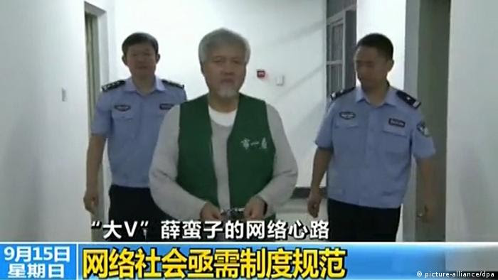In this screen grab taken on 15 September 2013, Charles Xue Biqun (Xue Manzi), Chinese-American investor and Weibo celebrity who was detained last month on suspicion of soliciting prostitutes is seen during a report to police in Beijing, China. Chinese-American investor Charles Xue Biqun, a popular weibocommentator who was detained last month on suspicion of soliciting prostitutes, has offered to work with authorities in their internet crackdown to help secure his release, state media reported. Xues pledge was carried across state media on Sunday (15 September 2013) in what appeared to be the latest attempt by Beijing to justify its campaign against internet rumours and Big V or verified online celebrities who can command millions of followers. Xue - known as Xue Manzi to his 12 million followers on Sina Weibo told Beijing police that he had made mistakes with his online postings, and held himself out as an example of the need to regulate the internet, according to a Xinhua report. The report featured prominently on major news portals on the mainland on Sunday. Xue told police in a Beijing detention centre that online influence had fuelled his ego, adding that he had misled internet users on various incidents.