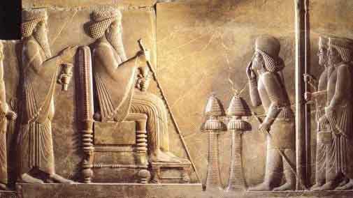 Δαρείος ο μέγας - απο τα ανάκτορα της Περσέπολης, ο Δαρείος καθιστός στον θρόνο πίσω του όρθιος ο γιός και διάδοχος Ξέρξης